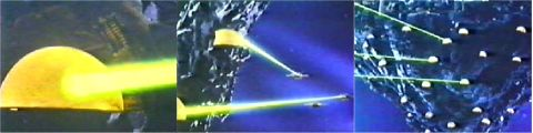 The Imperial Fortress' beam lasers in action